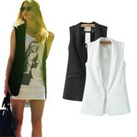 Wholesale elegant fashions coats - Wholesale-Women Fashion elegant office lady pocket coat sleeveless vests jacket outwear casual brand WaistCoat colete feminino MJ73