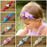 Wholesale Rose Diamond Hair Band - New Products baby Hair Accessories Europe and America style flowers toddler hair band Rose butyl diamond newborn headdress flower