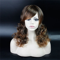Wholesale Long Realistic Wigs - Long Curly Omber Wig With Side Bangs for Women Cheap Realistic Synthetic Fake False Hair Wigs African American Wigs for Black Women