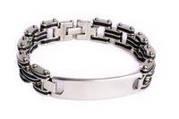 Wholesale Mens Bangle Bracelet Rubber - 1PCs Hot Mens ID 316L Stainless Steel Bracelet Silver Link Chain Black Rubber Wristband Gift Free