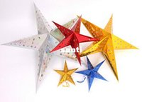Wholesale christmas decoration paper stars - Christmas Ornament 30cm Paper five-star star lampshade Christmas scene layout Paper Lanterns Decorations