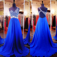 2016 Glamorous Royal Blue Crystal Perlen Prom Kleider Party Abendkleid Formal Eine Schulter Chiffon Open Back Sweep Zug
