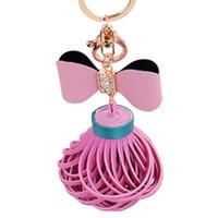 ingrosso portachiavi farfalle-Cuoio di cuoio della farfalla scava fuori la collana della frangia dei gioielli della frangia della nappa dei gioielli di fascini della borsa dei keychains della borsa Regalo di promozione del venditore