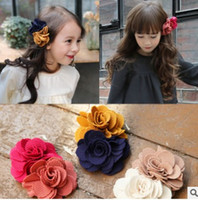 Wholesale Flower Hair Clips For Girls - flower hair clip Sweet Korean 2016 New floral bow hair clips Cute flower hair accessories for girls kids hair bows H145