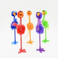 sevimli renkli kalemler toptan satış-Yüksek kaliteli Renkli Devekuşu Tükenmez Kalem Sevimli Kırtasiye Kawaii Kalem Çocuklar Hediyeler için Kawaii Hediyeler IC915