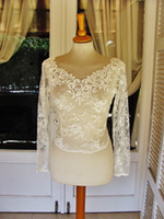 Wholesale Classy Wedding Dresses Sleeves - Classy Lace Bridal Jacket With Long Sleeve Bolero V Neck Pearls Button Back Custom Made Wrap Bridal Accessories For Wedding Dress Jackets
