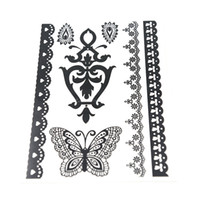 Wholesale Black Henna Hand Tattoos - New Temporary Tattoo Black&White Henna&Lace Tattoos Paste Sticker 20 pcs lot Body Tattoo Waterproof Arm Chest Tattoos 8.2*5.8 Inch GA W