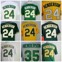 Wholesale Henderson Baseball - Baseball Jerseys Oakland 24 Rickey Henderson Mens #35 1990 Mitchell And Ness Throwback White Yellow Green Stitched