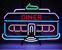 """Wholesale Car Real Lamp - DINER CAR NEON SIGN 1950's Classic Retro Restaurant Open Light Lamp Avize Neon Light Sign Real Glass Tube Custom Logo 25""""X16"""""""