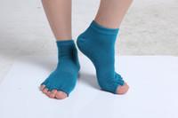 Wholesale Yoga Half Toe Socks - Cotton Blends Toeless Exercise Yoga Half Toe Socks 7 Colors Available 6pcs lot Free Shipping