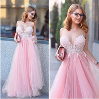 Wholesale Soft Blue Quinceanera Dresses - Gorgeous Pink Sheer Neck Prom Dresses 2015 Lace Applique Soft Tulle Evening Gowns Floor Length Formal Party Quinceanera Dresses