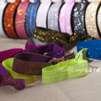 Wholesale Wholesale Glitter Elastic Headbands - Glitter Hair Tie Elastic Gold Lady Hairband Headband Girl Kid's Fashion Ribbon Hand Tie Hair Accessories