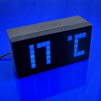 6pcs / lot Digital Big Jumbo Alarm LED azul Snooze Parede / Calendário de mesa Weather Clock presente QY