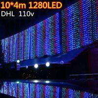 Wholesale Christmas Light Curtain Price - wholesale price free DHL 10m*4m 1280 LED lights flashing lane LED String lamps curtain icicle Christmas home garden festival lights