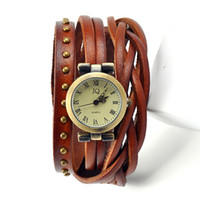 Wholesale braided wrap watch - 2015 Roma Number Vintage Women Leather Watches Men Ladies Dress Watches Female Rivet Wrap Quartz Braided Bracelet Watch W1355
