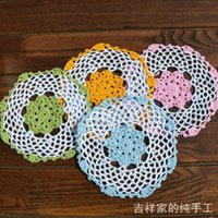 Wholesale Wholesale For Kitchen Items - 2013 new fashion flowers lace multicolor 16cm round cotton crochet innovative item placemat talbe mat for kitchen accessories
