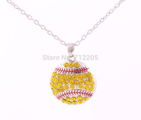 Wholesale Necklaces Collection - Fans Collection free shipping 10pcs a lot rhodium plated Round floating enimal Softball pendant sports necklace
