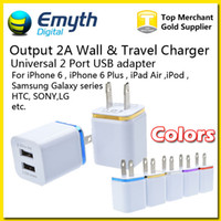 Wholesale Eu Charger For Lg - Wall Travel US EU plug Dual USB 1A AC Power Adapter Wall Charger Plug 2 port for iPhone 6 Plus 5 5s iPad iPod Galaxy Note 4 S6 LG Sony