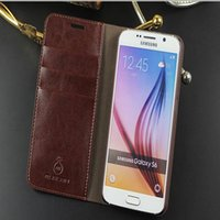 Wholesale Real Leather S4 Case Brown - Musubo Genuine Real For iphone 6   7 Plus Wallet Leather Case Cover Card Holder Flip Wallet Case fashion Cover For Samsung S7 Edge S6 S5 S4