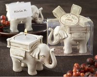 Wholesale Candle Favors Free Shipping - 200PCS New Lucky Elephant Antique-Ivory Candle Holder with card for Wedding favors Best gifts for guests Free shipping