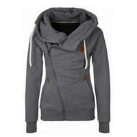 Wholesale Women S Hooded Thickening Fleece - New Arrival Thickening Fleeces Sweatshirts For Women Hooded Hoodies Candy Colors Solid Sweatshirt Long Sleeve Side Zip Up 8949