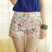 Wholesale High Waisted Capris Plus Size - High Fashion Designer Brands 2014 New Women Fashion Summer Fashion Cotton Floral Korean Shorts Plus Size High Waisted Shorts A2