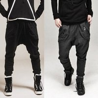 Wholesale Harem Tapered Sweat - Wholesale-Men Harem Baggy Sweat Pants Athletic Sporty Casual Tapered Sport Hip Hop Dance Trousers Slacks Joggers SweatPants