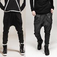 Wholesale Casual Athletic Hip Hop Dance - Wholesale-Men Harem Baggy Sweat Pants Athletic Sporty Casual Tapered Sport Hip Hop Dance Trousers Slacks Joggers SweatPants
