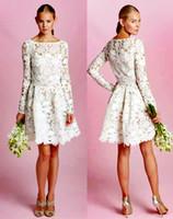 Wholesale Oscar Dress Knee Length - long sleeve knee length lace wedding dress 2017 Oscar De La Renta wedding gowns A line bateau bridal gowns