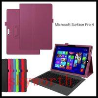 yüzey profesyonelleri için deri çantalar toptan satış-Flip Folio Katlanır Standı PU Deri Kılıf Akıllı Kapak Microsoft Surface3 Yüzey pro 3 4 10.8 inç 12 inç Tablet PC
