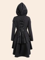 Wholesale Tailcoat Bow - Wholesale- Gamiss Women Trench Coat 2017 Black Gothic Overcoat Hooded Bow Button Lace Up Vintage Tailcoat Fashion Slim Overcoat