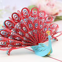 Wholesale Peacock Invitations - Creative Peacock Invitation Card Color Art 3D Folding Greeting Card Customized Birthday Christmas Gift Promotion SD757