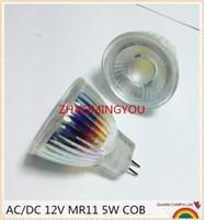 mr11 led ampuller toptan satış-YON 1 ADET Yeni Varış MR11 COB Led Spotlight Cam Gövde GU4 Lamba Işık AC / DC 12 V MR11 5 W LED Ampul Sıcak Beyaz / beyaz