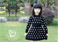 Wholesale Dot Jersey - Wholesale-Autumn winter spring chilren clothes girl long sleeve polka dots dress children denim dress kids jersey dress dress 4p l