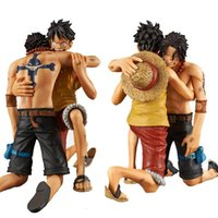Wholesale Monkey Piece Set - Anime Figurine One Piece Action Figure DRAMATIC SHOWCASE Monkey D Luffy Ace 5th Season vol.1 PVC Doll Model Toy 2pcs set 12cm