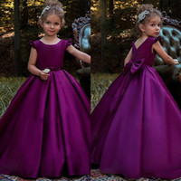 Wholesale Simple Flower Dresses Kids - Beautiful Simple Girls Pageant Dress Satin A-Line Bow Sash 2018 Girl Communion Dress Kids Formal Wear Flower Girls Dresses for Wedding