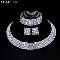 ingrosso placcato in argento-All'ingrosso-Clear cristallo austriaco placcato argento set di gioielli rotonda collana orecchini bracciale per le donne accessorio da sposa TL294 + SL090