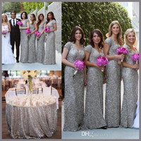 Wholesale Long Dress Bridesmaid China - Plus Size 2015 Bridesmaid Dresses Sleeves Maid of Honor Cheap Long Gray Sliver Sequins Sexy Evening Party Gowns V Neck Wedding Dress China