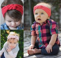 Wholesale Solid Woven Cotton Belt - 2016 Kids Girls Weave force Headwrap Baby girl Cotton Headbands 7 colors Bow Belt infant babies fashion hairbands lovely hair accessories