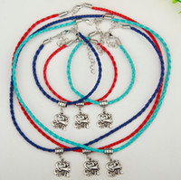 Wholesale Lemon Lights - 2017 Hot 10Set lot Ancient Silver I Love Cheer Charm Pendant Multi Leather Rope Necklace Bracelet Sets Women Jewelry DIY Holiday Gifts S988