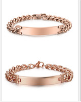 Wholesale Ids Ip - Brand New High Quality Lover Couple's XMAS Gift IP Rose Gold Stainless Steel smooth ID Bracelet Chain Link Bangle Unisex Jewelry