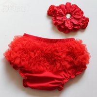 Wholesale Diaper Cover 2t - New Born Infant Ruffled Woven Baby Diaper Bloomer Covers LACE BLOOMERS ,BABY LACE PANTS  KNICKERS BABY SHORTS
