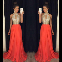 Wholesale Cheap Sexy Red Long Gowns - Prom Dresses 2016 High Neck Evening Dresses Cheap Bridesmaid Dresses Orange Long Dresses Evening Wear Wedding Evening Gowns Sexy Ball Gowns
