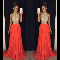 chiffon vestido de baile laranja venda por atacado-Vestidos de baile 2016 Alta Pescoço Vestidos de Noite Baratos Vestidos Dama de Honra Laranja Longos Vestidos de Noite Vestidos de Noite Vestidos de Casamento Sexy Vestidos de Baile