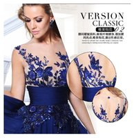 Wholesale Ediz Dresses - Cheap Under 51 2016Tarik ediz Evening Dresses Sheer Neckline Short Sleeves Backless Applique Chiffon Plus Size 2016 Party Prom Formal Gowns