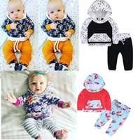 Wholesale Trendy Suits - Baby Trendy Suits Kids Toddler Infant Casual long sleeve Tops +trousers 2pcs sets pajamas newborn clothes Infants Cotton Hoodies Outifts