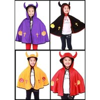 Wholesale 2015 Halloween Children s Clothing Boys and Girls Cosplay Devil Horns Shawl Cape