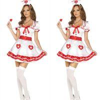 Wholesale Sexy Nurses Dress Uniform - Love cute nurse role playing nurse Halloween white nurse dress sexy game uniforms cosplay costumes for women