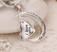 Wholesale Love Moon Back - MIC 10pcs New Antique silver Plated Crescent Moon Heart Charm I Love You to the Moon And Back Necklace