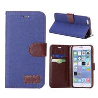 iphone hüllen cowboy großhandel-Für S8 Fall Jeans Stoff Brieftasche Ledertasche für iphone7 7 plus 6 Cowboy Flip-Cover mit Kreditkartensteckplätze Halter